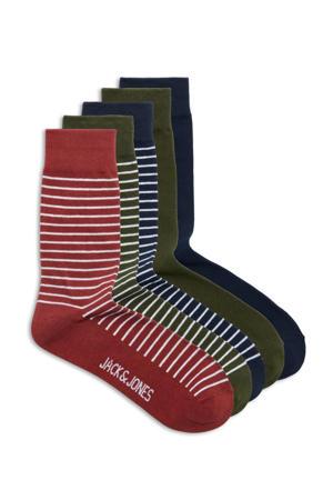sokken - set van 5 rood/donkerblauw