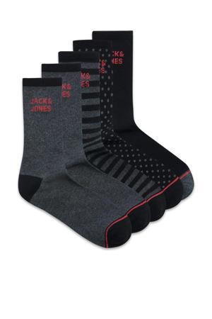 sokken - set van 5 antraciet/zwart