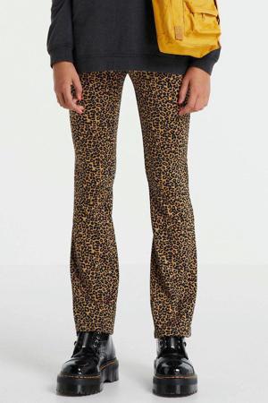 flared broek KONPAIGE met panterprint bruin/zwart