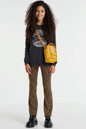 flared broek Paige met panterprint bruin/zwart