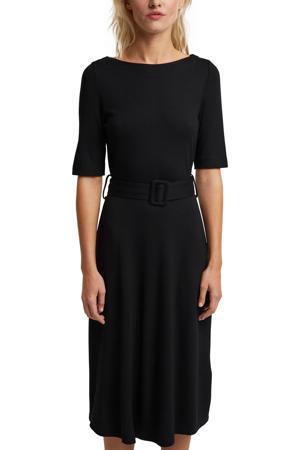 fijngebreide jurk met plooien zwart