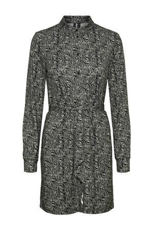 blousejurk met all over print en ceintuur zwart