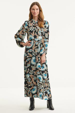 maxi jurk met all over print zwart/blauw/oranje