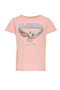 KIDS ONLY T-shirt Lucy van biologisch katoen zalmroze/lichtblauw/zwart, Zalmroze/lichtblauw/zwart