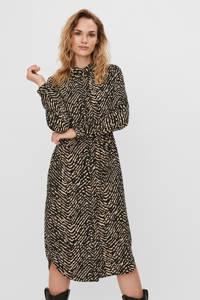 VERO MODA jurk VMANI met all over print bruin/zwart, Bruin/zwart