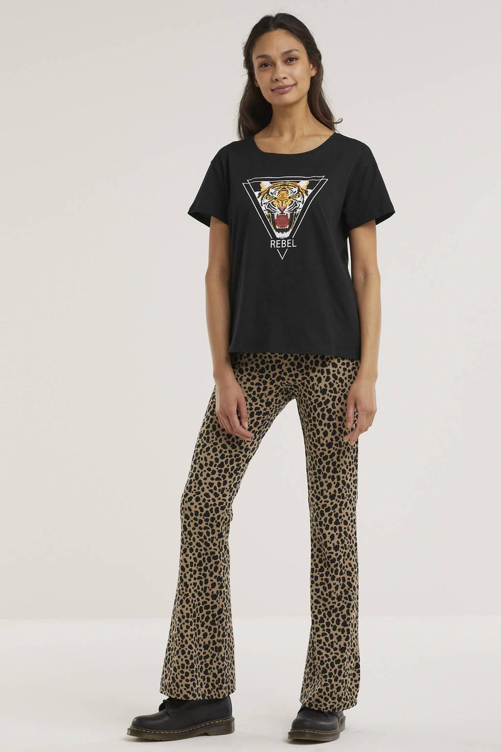 VERO MODA flared broek met panterprint beige/zwart, Beige/zwart