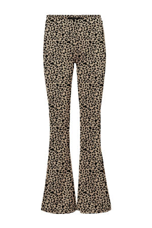 flared broek met panterprint beige/zwart