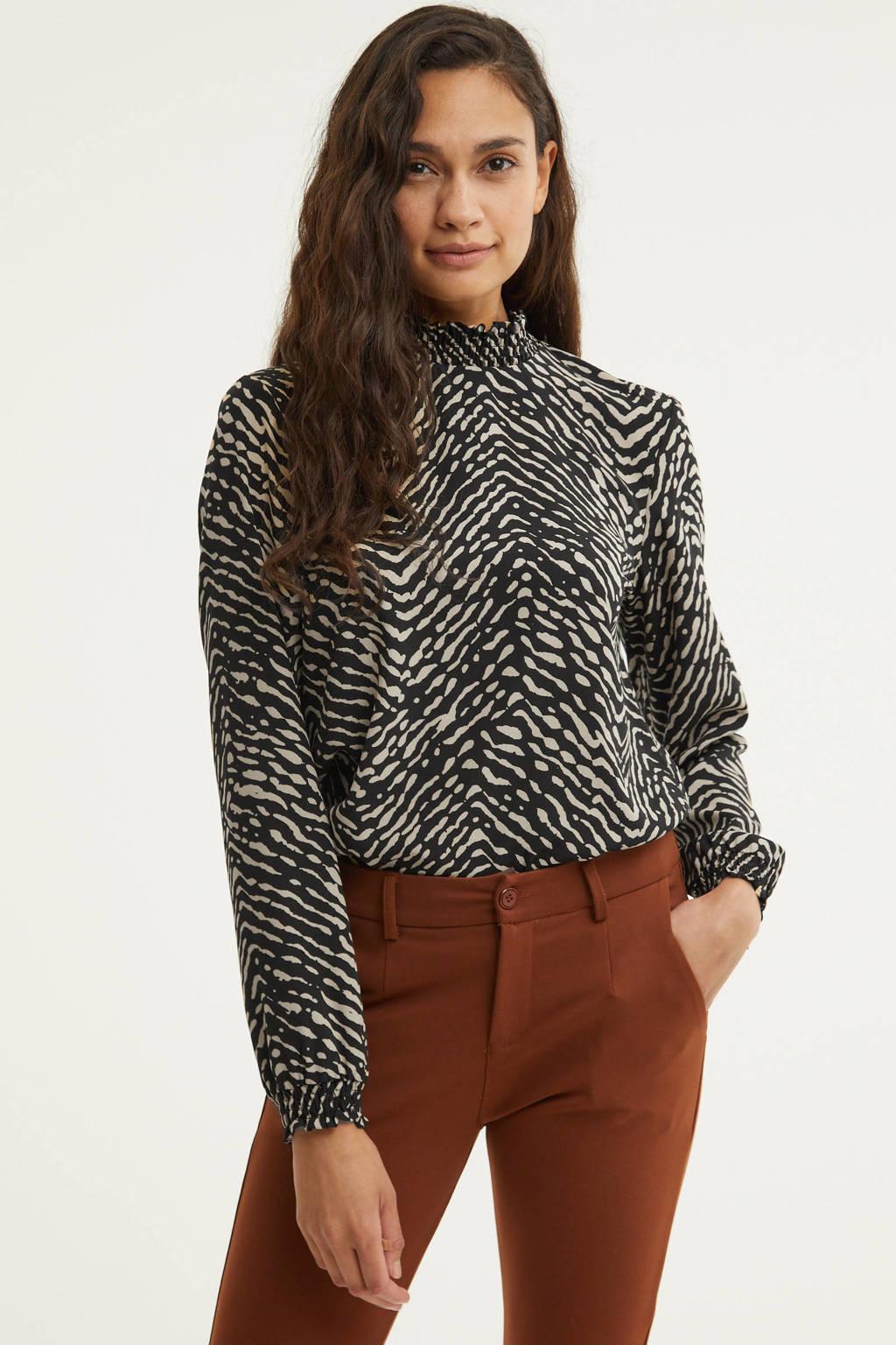 VERO MODA blouse VMANI met all over print zwart, Zwart