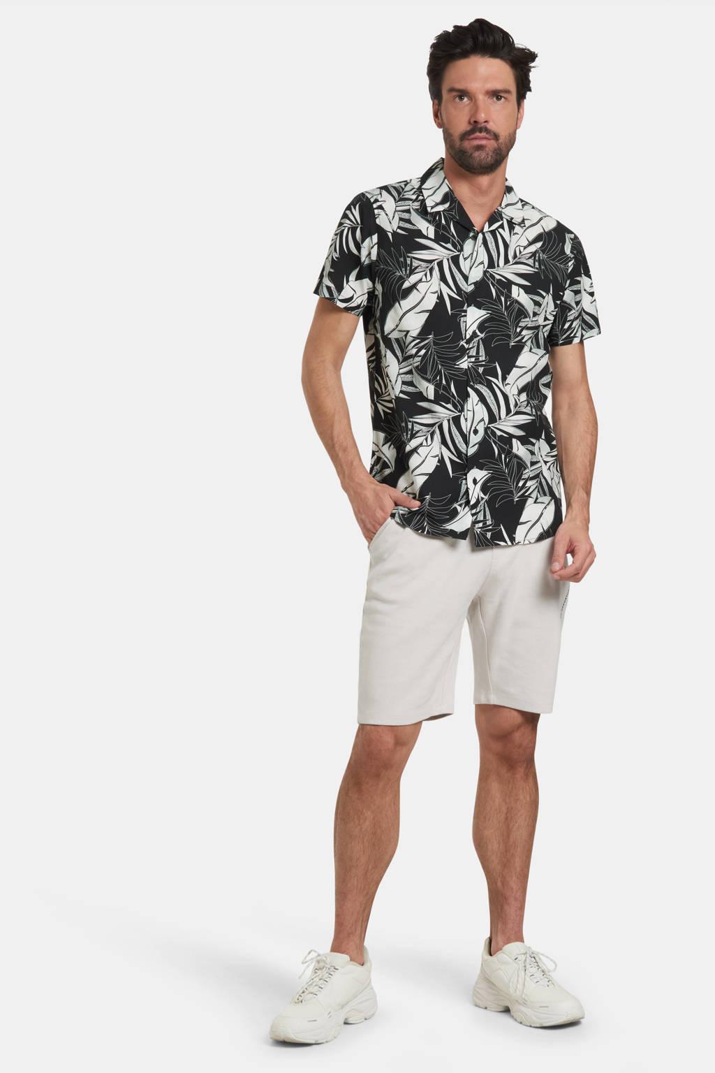 Refill by Shoeby regular fit overhemd Danley met bladprint zwart, Zwart