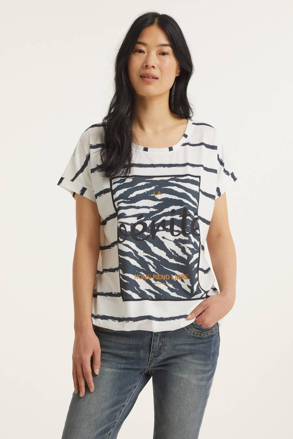 Geisha gestreept T-shirt wit/blauw, Wit/blauw
