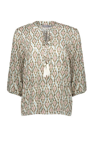 blouse met all over print en franjes ecru