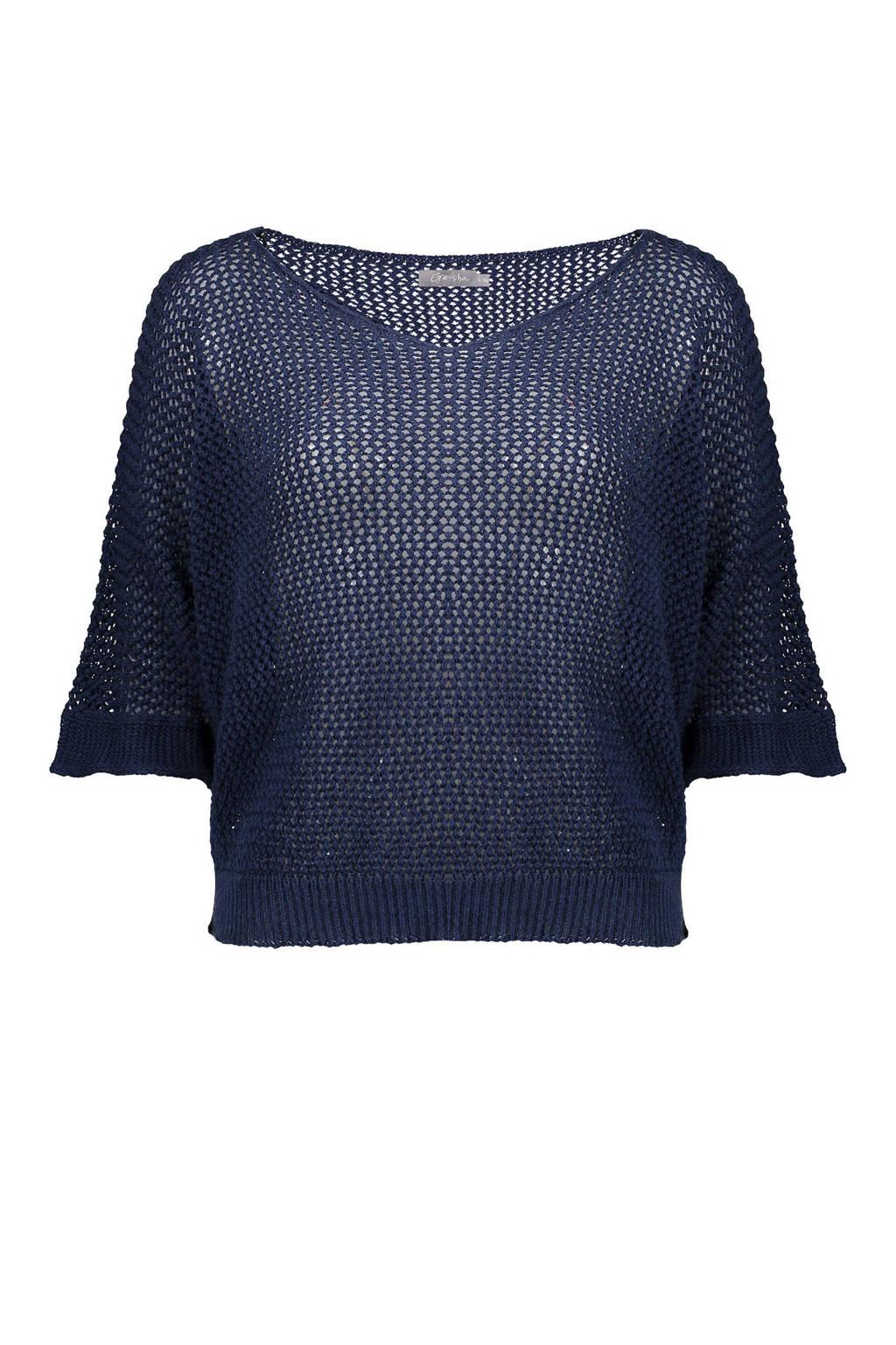 Geisha fijngebreide trui donkerblauw, Donkerblauw