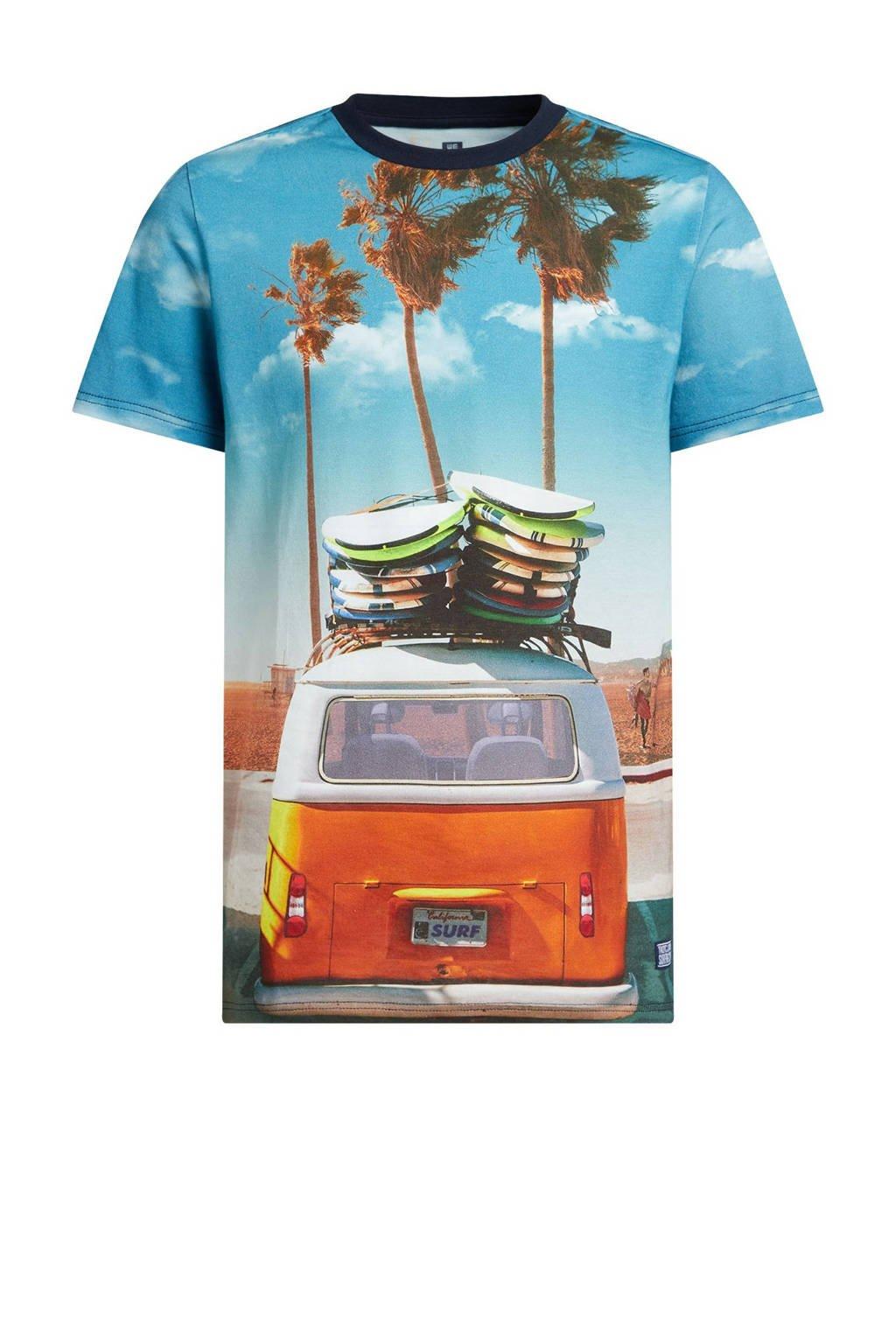 WE Fashion T-shirt met printopdruk blauw/oranje, Blauw/oranje