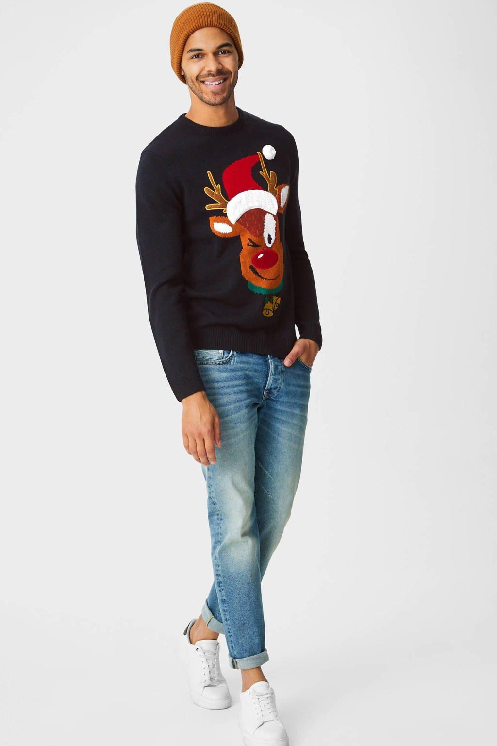 C&A Angelo Litrico  kersttrui donkerblauw, Donkerblauw