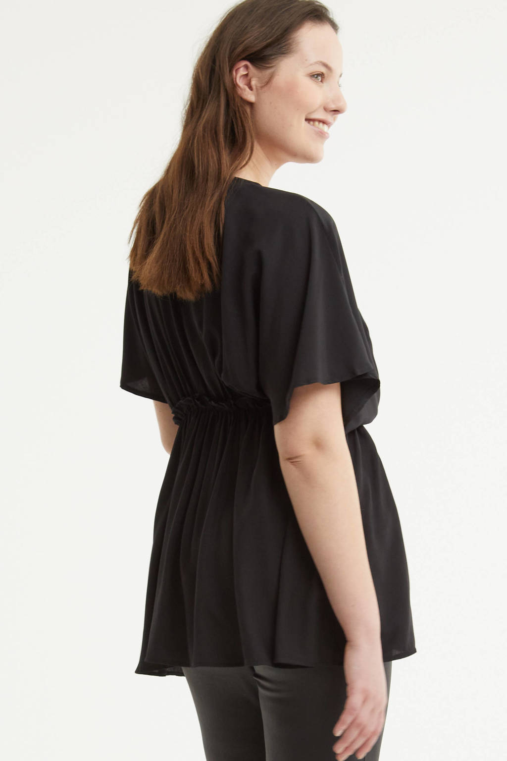 Simply Be semi-transparante top met volant zwart, Zwart