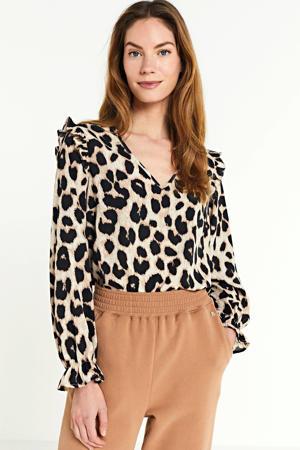 blouse met all over print en ruches zand/zwart