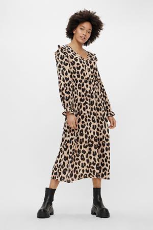 maxi jurk PCSNOLLY met all over print zand/zwart