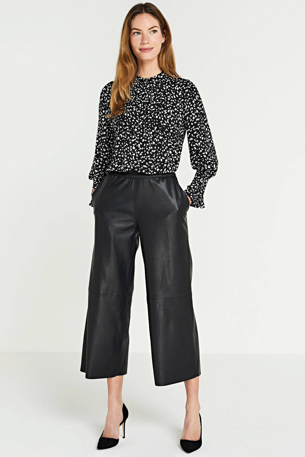SELECTED FEMME blouse met all over print zwart, Zwart