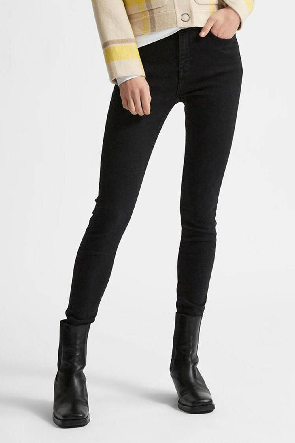 SELECTED FEMME high waist skinny jeans van biologisch katoen SLFSOPHIA black denim, Zwart