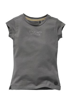 T-shirt Neomi met tekst grijs