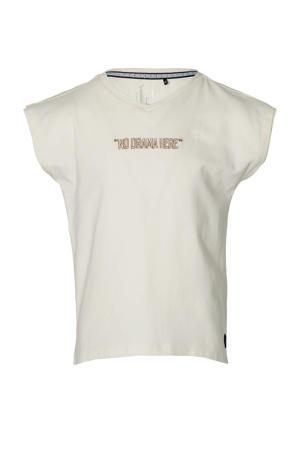 T-shirt Mana met tekst en borduursels offwhite