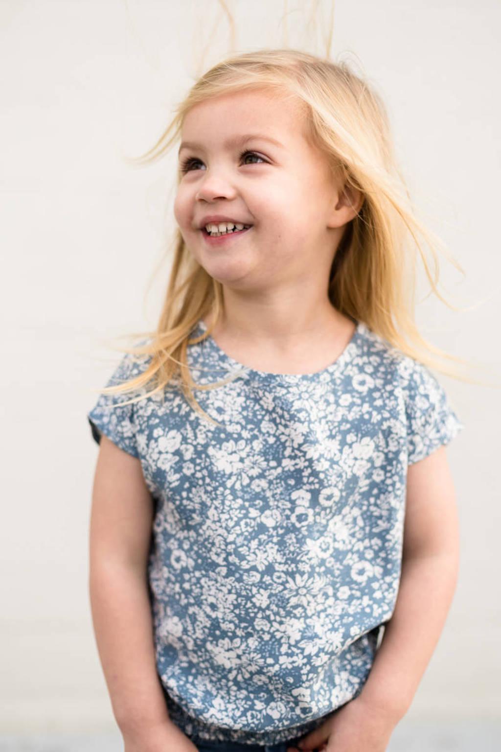 LEVV Little gebloemde top Nina blauw/wit, Blauw/wit