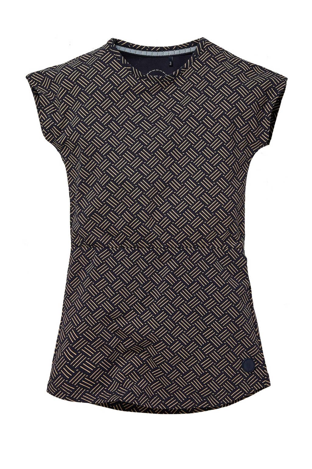 LEVV Little jurk Naomi met all over print donkerblauw/bruin, Donkerblauw/bruin