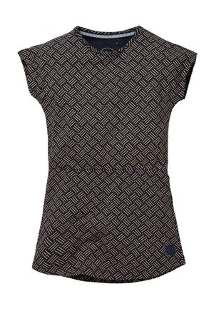 jurk Naomi met all over print donkerblauw/bruin