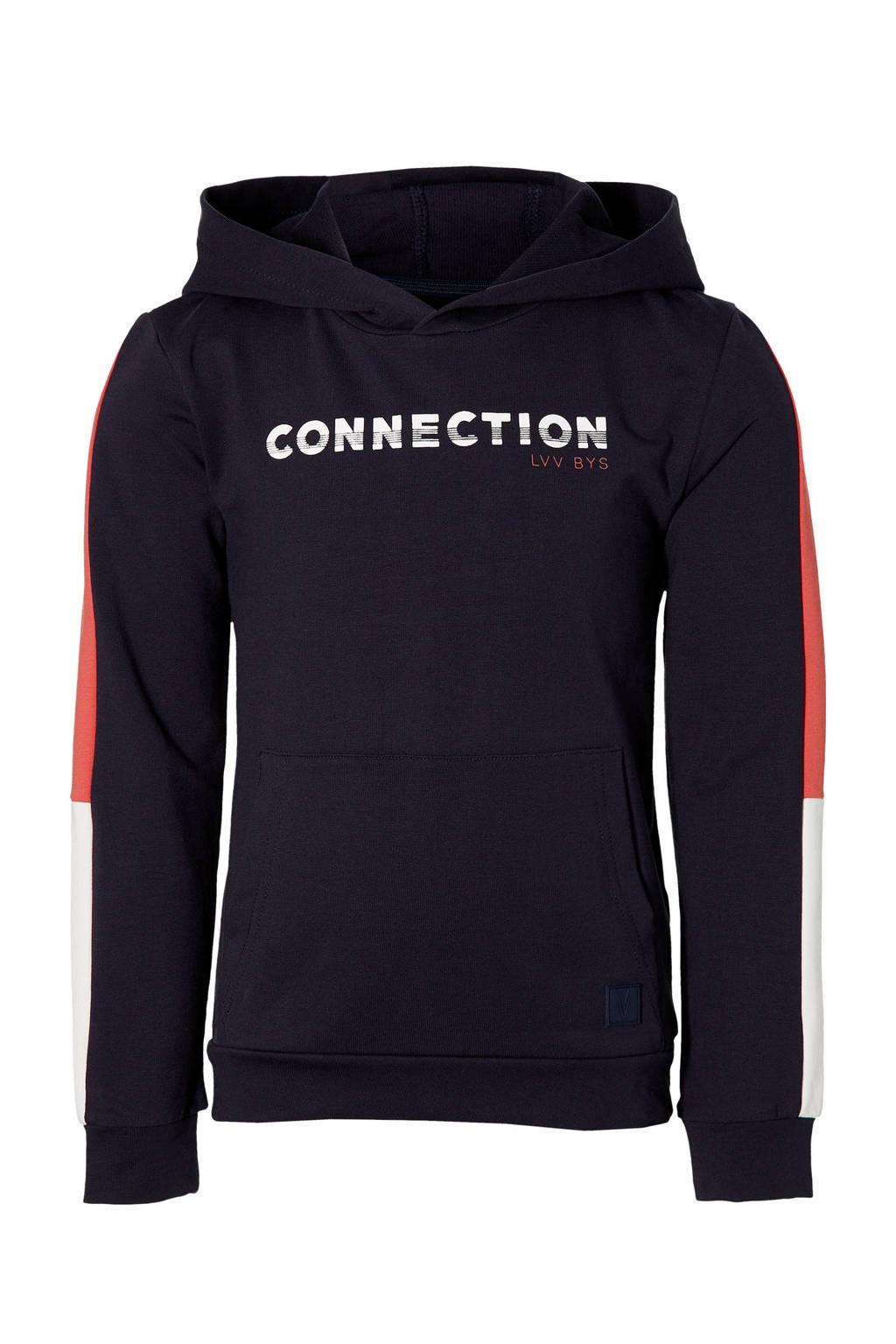 LEVV Boys hoodie Mayzen met contrastbies donkerblauw/wit/rood, Donkerblauw/wit/rood