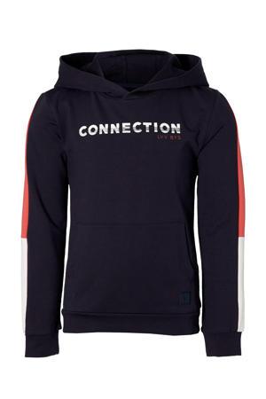 hoodie Mayzen met contrastbies donkerblauw/wit/rood