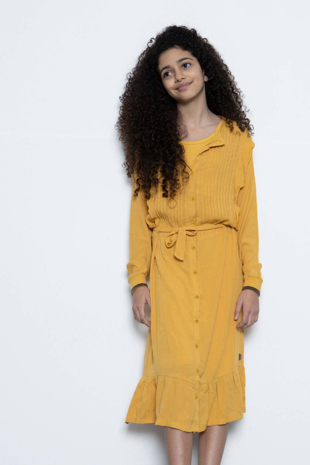 LEVV Girls blousejurk Maaike met ruches okergeel, Okergeel