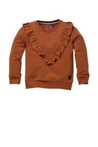 LEVV Little sweater Nora met ruches roestbruin, Roestbruin