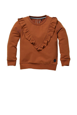 sweater Nora met ruches roestbruin