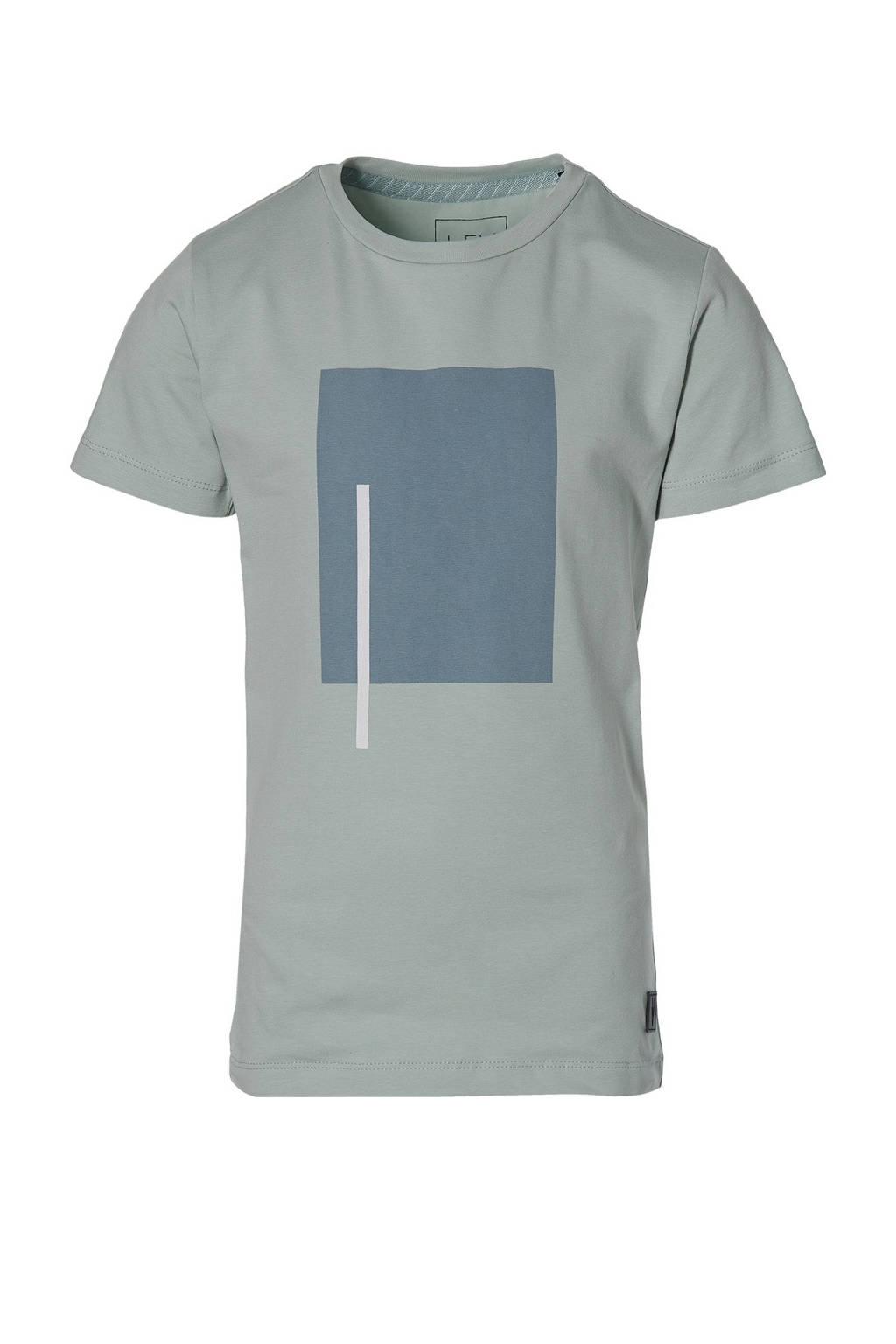 LEVV Boys T-shirt Math met printopdruk grijsblauw, Grijsblauw
