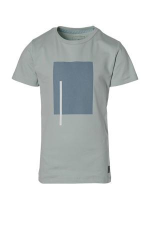 T-shirt Math met printopdruk grijsblauw