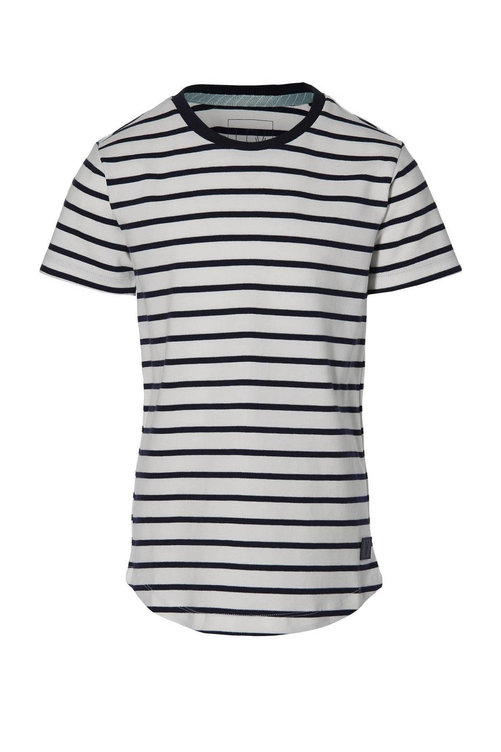 LEVV Boys gestreept T-shirt Mats donkerblauw/off white, Donkerblauw/off white