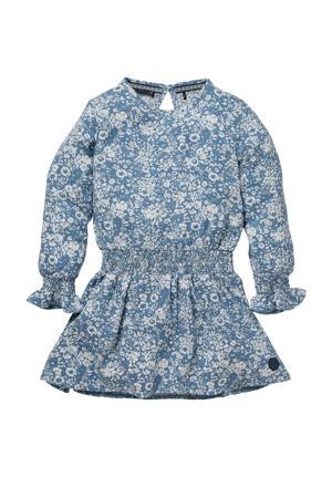 gebloemde jurk Nadine blauw/wit