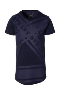 LEVV Boys T-shirt Maroen met printopdruk donkerblauw, Donkerblauw