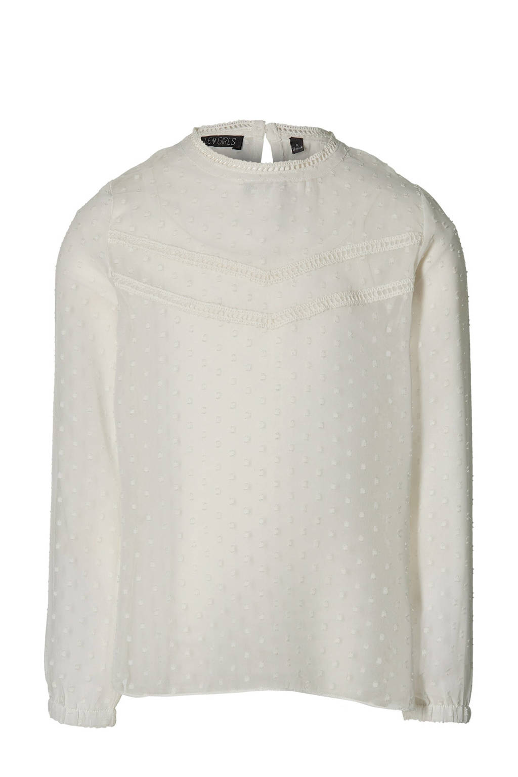 LEVV Girls semi-transparante top met all over print offwhite, Offwhite