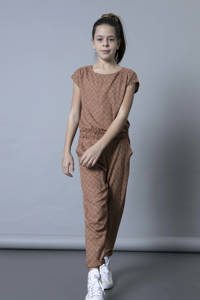 LEVV Girls jumpsuit Malu met all over print roestbruin/ecru, Roestbruin/zand