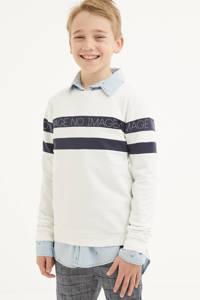 LEVV Boys gestreepte sweater Max wit/donkerblauw, Wit/donkerblauw