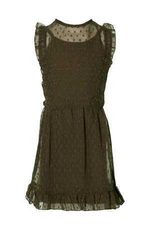 semi-transparante jurk Malou met all over print en ruches olijfgroen