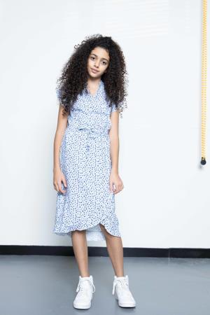 jurk Maegan met stippen en ruches lichtblauw/wit