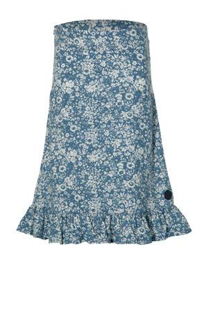 gebloemde rok Mel lichtblauw/wit