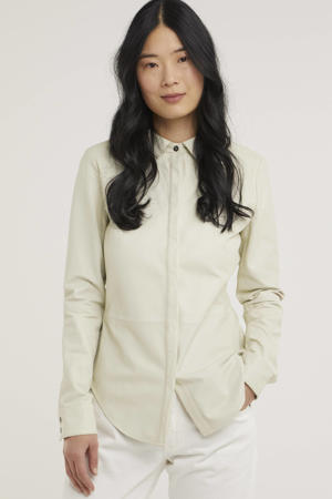 leren blouse DITA Sheep Soft Waxed ecru