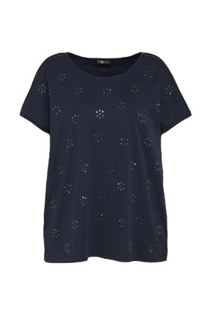 T-shirt met studs donkerblauw/zilver