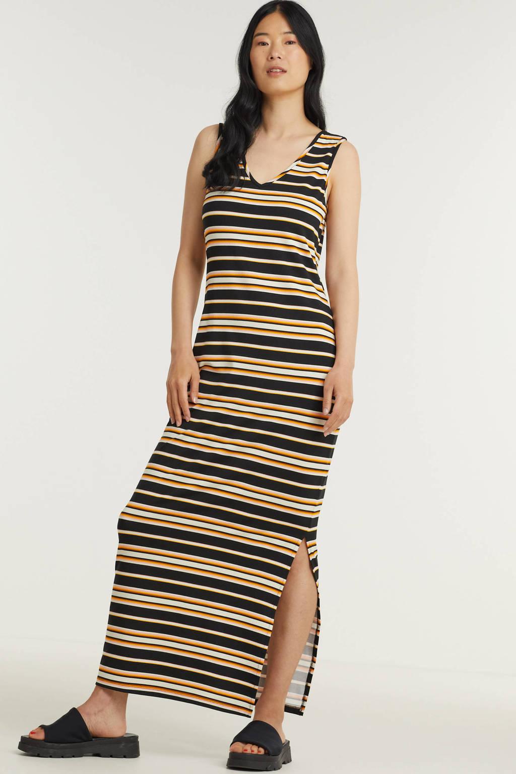 Tramontana gestreepte maxi jurk zwart/geel, Zwart/geel