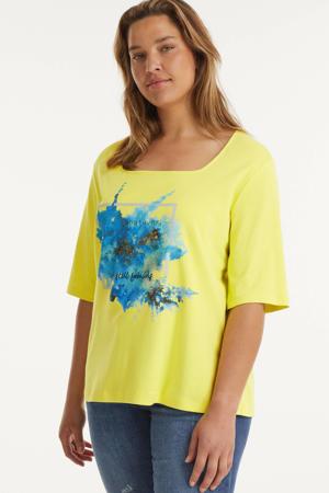 T-shirt met printopdruk en glitters geel/blauw/zilver