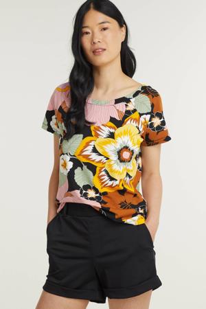 gebloemde T-shirt multicolor