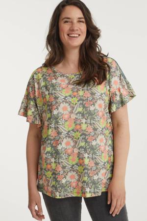 gebloemd T-shirt groen/oranje/donkergroen